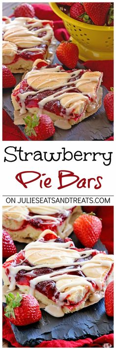 Strawberry Pie Bars ~ Quick and Easy Bars Stuffed with Strawberry Pie Filling in between a Soft and Delicious Almond Crust then Drizzled with Almond Icing! via @julieseats