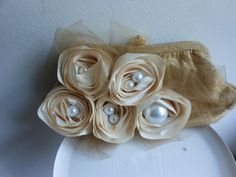 Gold and ivory wedding bag, Floral cocktail purse, ooak evening bag, holiday clutch. $46.99, via Etsy.