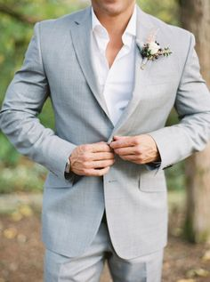 Stylish gray summer suit: http://www.stylemepretty.com/tennessee-weddings/nashville/2016/03/24/rustic-fall-wedding-at-nashvilles-cedarwood/ | Photography: Julie Paisley - http://juliepaisley.com/
