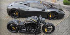 Ferrari 458 Italia и Harley-Davidson V-Rod custom. - Custom Motorcycles