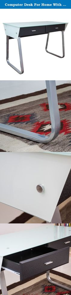 Computer Desk For Home With Glass Top - Contemporary Black Or White Personal Modern Table With Storage Drawer (White And Black). Close quarters don't have to cramp your style when you use this contemporary computer desk. Its compact dimensions and sleek surfaces let you turn any corner into an office or study, while its clean lines and modern design blend gracefully with contemporary decor. Use this tempered glass computer desk in a student's room or home office to combine efficiency and...