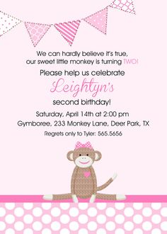 2nd Birthday Invite Wording I Would Change Monkey With Baby For