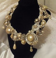 Statement Pearl Necklace, Wedding Jewellery, Collier de Marriage, Statement Vintage Couture Neck Piece by Marelle.