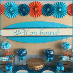 Surfer Boy - Baby on Board Baby Shower Party Ideas | Photo 6 of 10 | Catch My Party