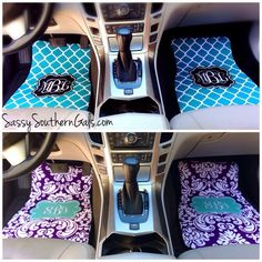 Monogrammed Car Mats on SassySouthernGals. Monogrammed Car Accessories make a great sweet sixteen birthday gift idea! Choose from over 50 patterns and colors. Chevrolet Silverado, Chevy, Scion Tc, Jeep Wranglers, Bumper Stickers, Scrunchies, Hyundai Creta, Jdm, Car Accessories For Guys
