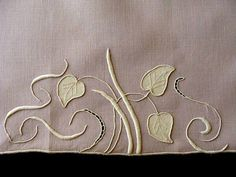 Vintage MARGHAB Linen Guest Towel LAVENDER Water Leaf Finest MADEIRA Embroidery