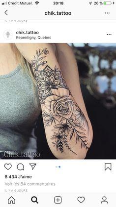 Floral mandala arm tattoo - Tattoos Women - Tattoo Designs for Women Tatuaje Mandala Floral, Floral Mandala Tattoo, Mandala Flower Tattoos, Forearm Flower Tattoo, Mandala Tattoo Design, Tattoo Flowers, Hand Tattoo, Design Tattoos, Lotus Mandala