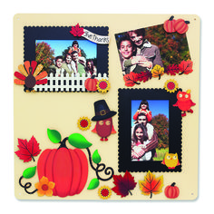 Create your own Memo Boards with magnetic frames and embellishments. Change out colorful magnets and favorite photos for unique year round displays. Thanksgiving Magnets from Embellish Your Story by Roeda.