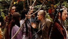 Two elflings messing around. And Elrond stands there like meh, children.