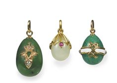 Three jewelled and gold-mounted hardstone egg pendants, St Petersburg Vintage Rhinestone, Vintage Brooches, Glasgow Museum, Faberge Jewelry, Double Headed Eagle, Faberge Eggs, Russian Art, White Enamel, Antique Jewelry