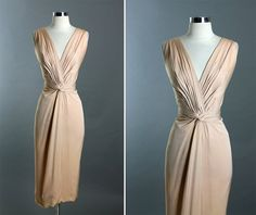 Vintage 50s CEIL CHAPMAN Nude Draped by RedHouseVintages on Etsy