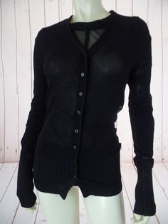 Jean Paul Gaultier Maille Top Cardigan 2Pc Set Black Sheer Nylon Mesh ITALY CHIC