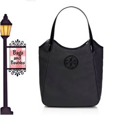 """NWT• TORY BURCH Black Dipped Canvas Tote New with Tag: TORY BURCH Dipped Canvas Stacked T Logo N/S Tote. Black coated canvas with patent leather trim and gold-time hardware. Tan fabric lining with 1 zip and 2 slip pockets, magnetic snap closure. Dual flat handles with approx 7.5"""" drop, measures approx 11.5""""H x 11""""W (at bottom) and 4""""D. {3 Available} Please check closet for availability of same style in natural/rattan with bright blue trim. Always Authentic 