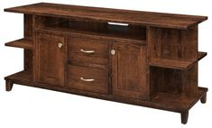 Amish Integra TV Stand Innovative styles with solid wood construction. The Integra combines open shelving with drawers and cabinets for a unique combination. Built in choice of wood and stain. #tvstand