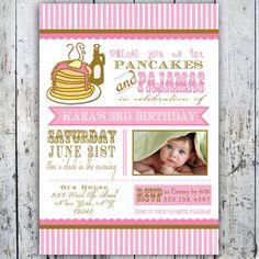 Pancakes and Pajamas Party Invitation - Photo Card - Printable File. $11.49, via Etsy.