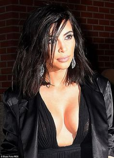 Kim Kardashian shows ample cleavage in plunging black gown in NYC Kim Kardashian Show, Kardashian Family, Kardashian Style, Glamour Hair, Strict Diet, Beautiful Celebrities, Kanye West, Girl Hairstyles, Hair Makeup