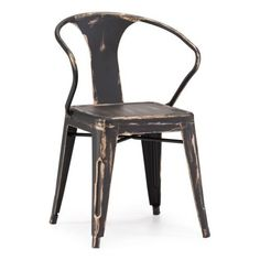 Zuo Modern Helix Dining Chair, Antique Black Gold