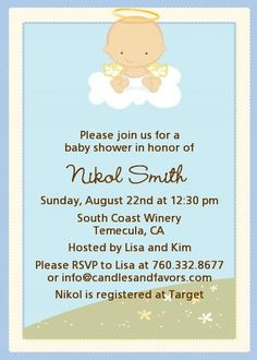Angel In The Cloud Boy   Baby Shower Invitations