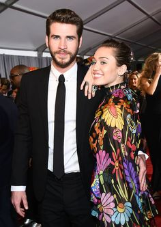 Liam Hemsworth and Miley Cyrus at 'Thor:Ragnarok' film premier