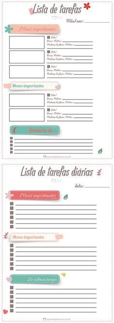 Para imprimir: listas de tarefas para manter a organização - Blog da Mimis #lista #tarefas #organização #qualidadedevida #blogdamimis #tabela #agenda #planner