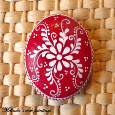 Red & White Hand Painted Stone by MelindaRockPaintings on Etsy