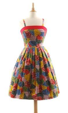 Rockabilly Patchwork Dress - Vintage Floral Dresses Image