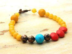Colorful Bracelet - Gemstones, Turquoise, Aventurine, Czech - Brown, Mustard, Autumn, Fall, Gemstone Bracelet, Boho, Stacking Bracelet by gabeadz on Etsy