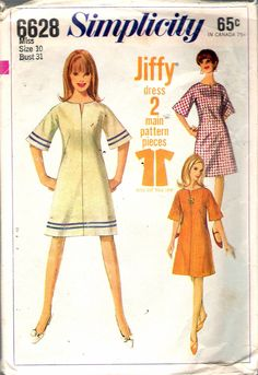 "Vintage 1966 Simplicity 6628 Misses' Jiffy Modified A-Line Dress Sewing Pattern Size 10 Bust 31"" by Recycledelic1 on Etsy"