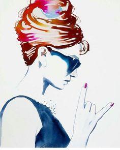 Audrey Hepburn Rock and Roll Watercolor