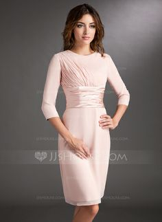 Mother of the Bride Dresses - $124.49 - Sheath Scoop Neck Knee-Length Chiffon Charmeuse Mother of the Bride Dress With Ruffle (008006836) http://jjshouse.com/Sheath-Scoop-Neck-Knee-Length-Chiffon-Charmeuse-Mother-Of-The-Bride-Dress-With-Ruffle-008006836-g6836