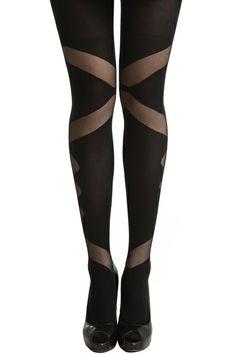 Irregular Pattern Black Tights, The Latest Street Fashion