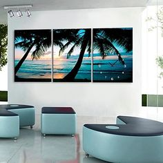 e-Home® de zee kokosnoot klok in canvas 3pcs – EUR € 36.35