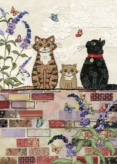 Awesome inspiration for free motion embroidery and raw edge applique - on a website called Bug Art . Illustration Noel, Illustrations, Sewing Machine Drawing, Cat Applique, Raw Edge Applique, Frida Art, Art Carte, Bug Art, Fabric Postcards