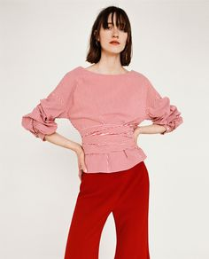 ZARA - EDITORIALS - STRIPED BLOUSE WITH PLEATED SLEEVES AND BOW BELT