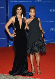 Tracee Ellis Ross, left, and Kerry Washington pose for photos together as they arrive to the White House Correspondents' Association Dinner at the Washington Hilton Hotel.