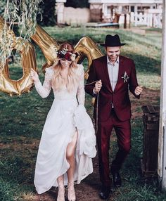 """785 Likes, 9 Comments - BRIDES Magazine (@brides) on Instagram: """"We love how this bride matched the flowers in her floral crown to her groom's burgundy suit ❤️ And…"""""""