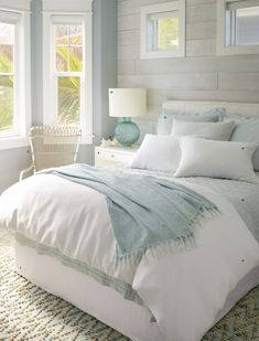 modern farmhouse bedroom design, neutral bedroom decor, neutral master bedroom design with white bedding and white walls, neutral farmhouse pillows, n. Modern Bedroom, Home Bedroom, Bedroom Interior, Bedroom Design, Guest Bedrooms, Neutral Bedroom Decor, Coastal Bedrooms, Bedroom Colors, Coastal Bedroom