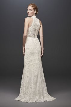 4ce7df37be Lace High-Neck Halter Sheath Wedding Dress