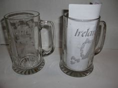 Vintage Eamon Glass Ireland Irish Harp Shamrock Beer Mug Glass Stein Set of 2 | eBay
