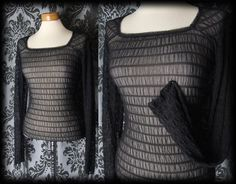 Gothic Black Sheer Ruched VOGUE NOIR Fitted Corset Panel Top 8 10 Victorian - £24.00