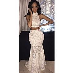 Lace Two Piece Sleeveless Long Dress