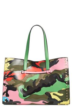 Valentino 'Rockstud - Psychedelic Camo' Canvas & Nappa Leather Tote available at #Nordstrom