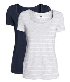 Light gray/striped. CONSCIOUS. Short-sleeved nursing tops in soft, cotton-blend jersey. Double layers at front with convenient inner top for easier nursing
