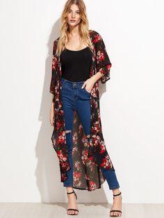 Kimono de gasa largo con estampado floral - negro -Spanish SheIn(Sheinside) Sitio Móvil