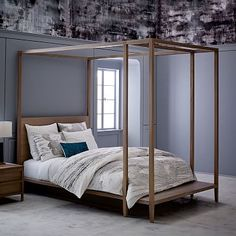 west elm's modern bedroom furniture features sleek styles & clean lines. Find an assortment of contemporary bedroom furniture including nightstands, drawers & headboards. Modern Bedroom Furniture, Contemporary Bedroom, Bed Furniture, Furniture Design, Bedroom Decor, Master Bedroom, Bedroom Ideas, Furniture Ideas, Queen Canopy Bed Frame