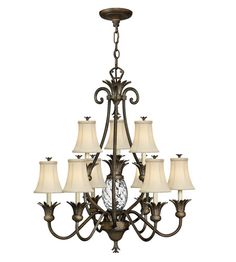 Hinkley 4887PZ Plantation 10 Light 33 inch Pearl Bronze Chandelier Ceiling Light, 2 Tier #LightingNewYork