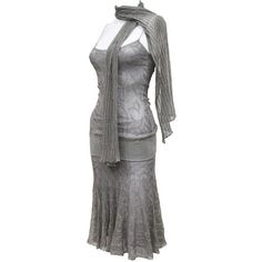 Preowned Chanel 1920s Style Flapper Dress With Scarf ($1,962) ❤ liked on Polyvore featuring dresses, grey, 1920s flapper dress, grey cocktail dress, flapper cocktail dress, gatsby dress and roaring twenties dresses