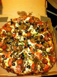 Round Table Pizza- King Arthur Supreme. It's a chain and it's expensive but it's delicious.