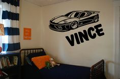 This Race car with name wall decal. This wall decal will look good in your sons room. He will love it on his wall The size of this decal is 33 wide by 20 tall SpecifyNamein comment box when you check out Specify color, otherwise If no color is selected it will be sent to you as shown in the picture Note that Picture has been enlarged so that you can see it better