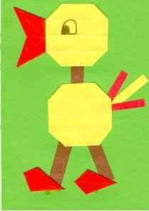 Vogel vouwen van 16 vierkantjes